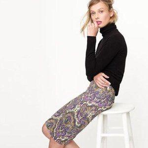 J. Crew #2 Pencil Skirt Royal Paisley Size 4